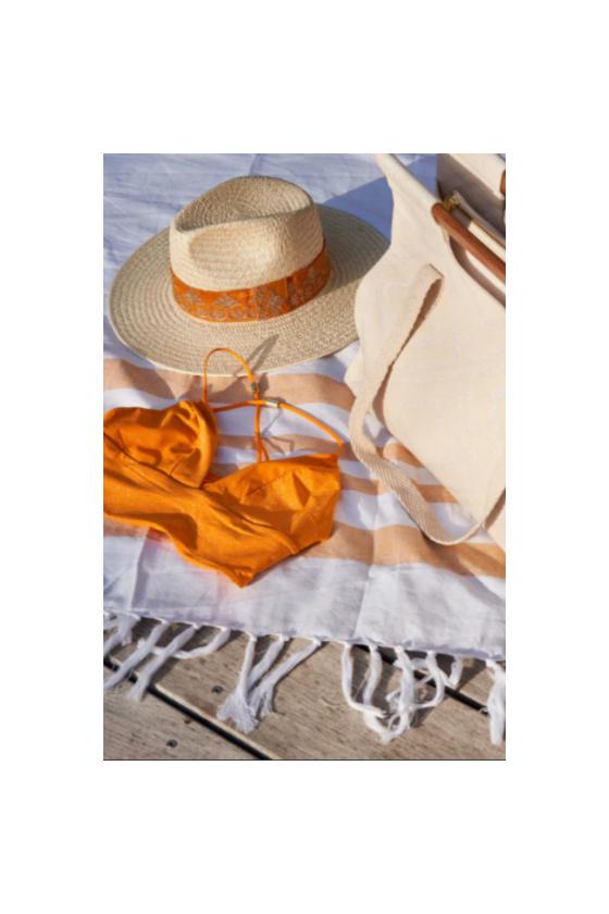 Chapeau de Paille 'Maradji' Rosalie Doré