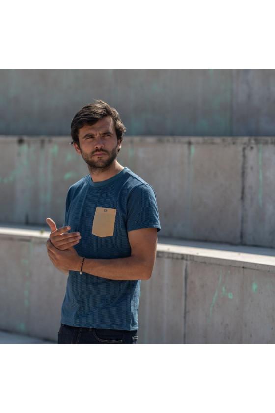 T-Shirt - Rayé Bleu Beige -...