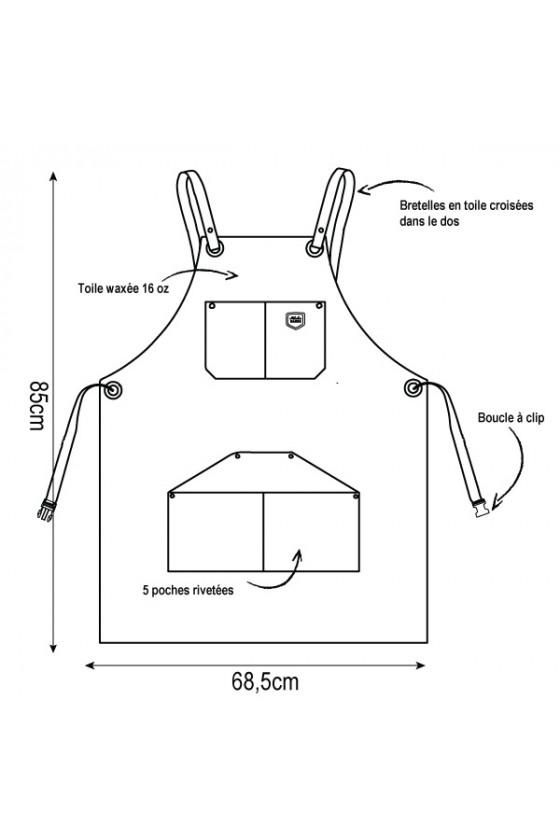 Tablier en Toile de coton Waxé 'Alaskan Maker' N°515